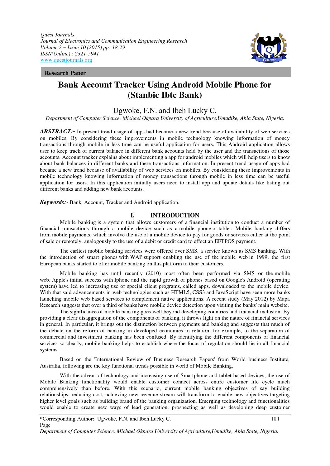 bank account tracker using android mobile phone for stanbic ibtc