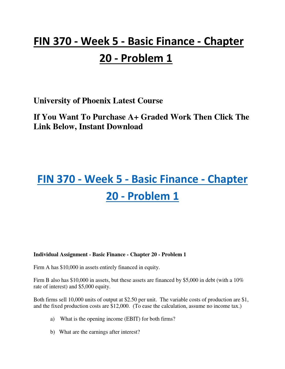 fin 370 problem 1 in ch 20 of basic finance This pack of acc 460 week 2 individual ch1 2 3 textbook  fin 370 week 3 problems 4–6 through 5–6 www  problem 1 the following data were obtained .