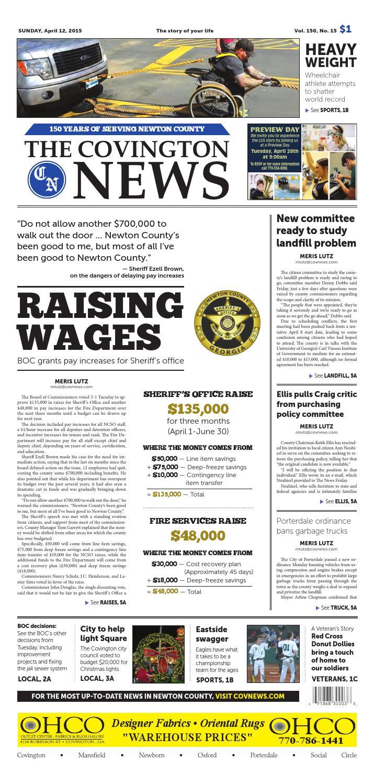 The Covington News Sunday, April 12, 2015 Vo 150, No  15 by