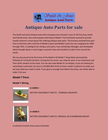 Antique Auto Parts For Sale by snjparts - issuu
