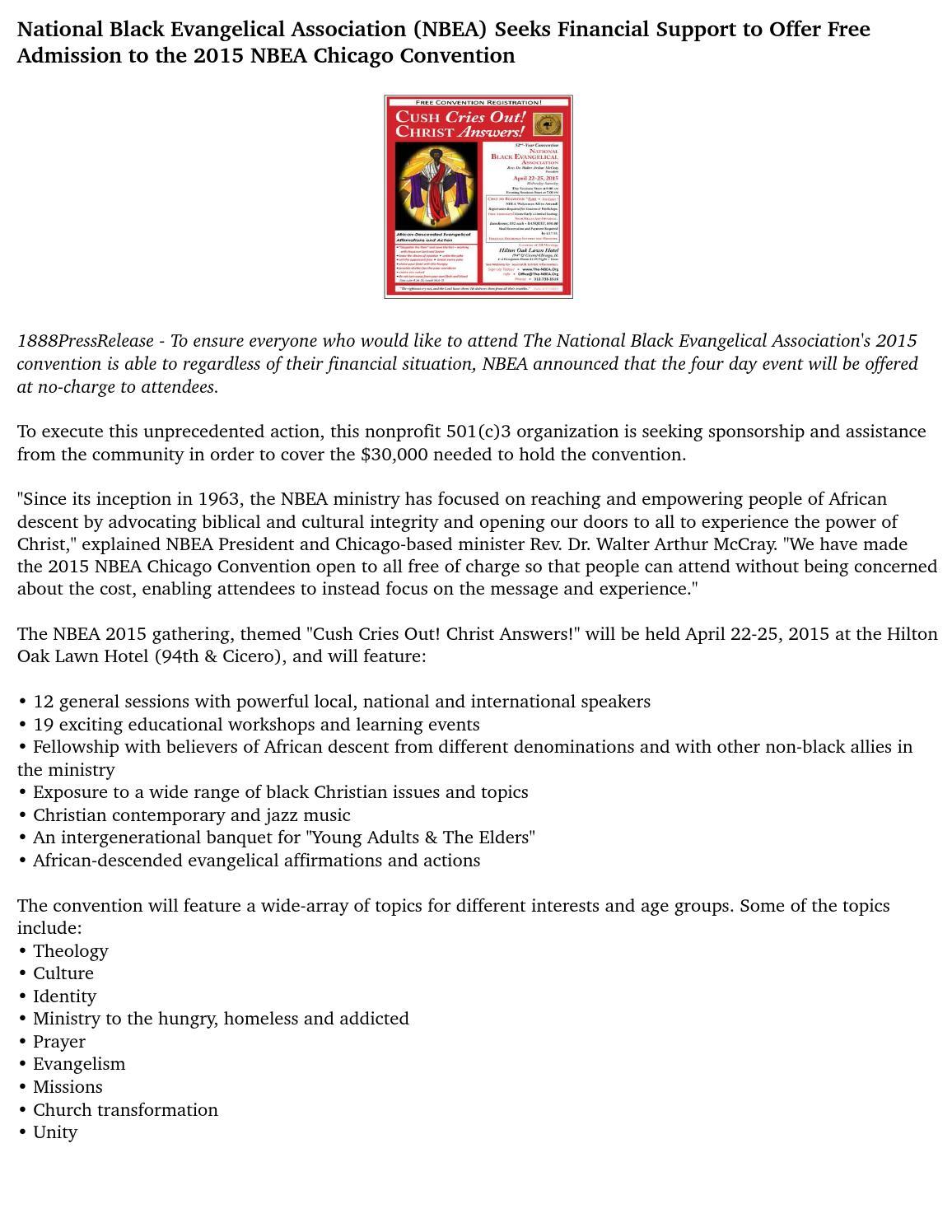 National Black Evangelical Association (NBEA) Seeks