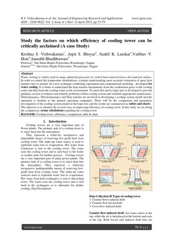 Study the factors on which efficiency of cooling tower can be