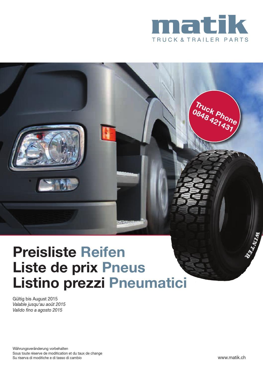 preisliste reifen liste de prix pneus listono prezzi pneumatici by matik ag issuu. Black Bedroom Furniture Sets. Home Design Ideas