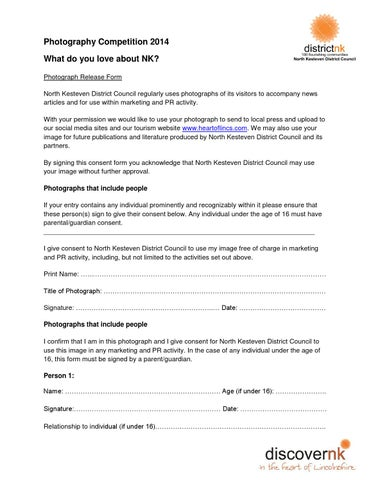 Photography Competition Persons Consent Form By Discovernk  Issuu