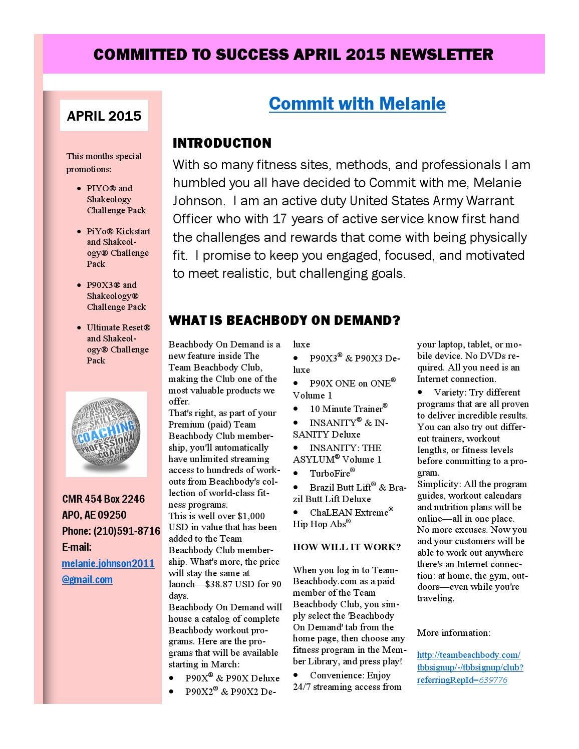 April 2015 commit with melanie beachbody newsletter by