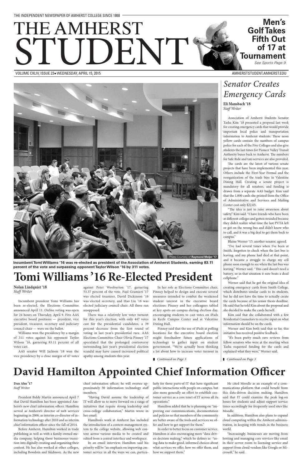 7e0b6abedc Issue 23 by The Amherst Student - issuu
