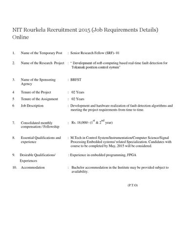 nit rourkela recruitment 2015 job requirements details online