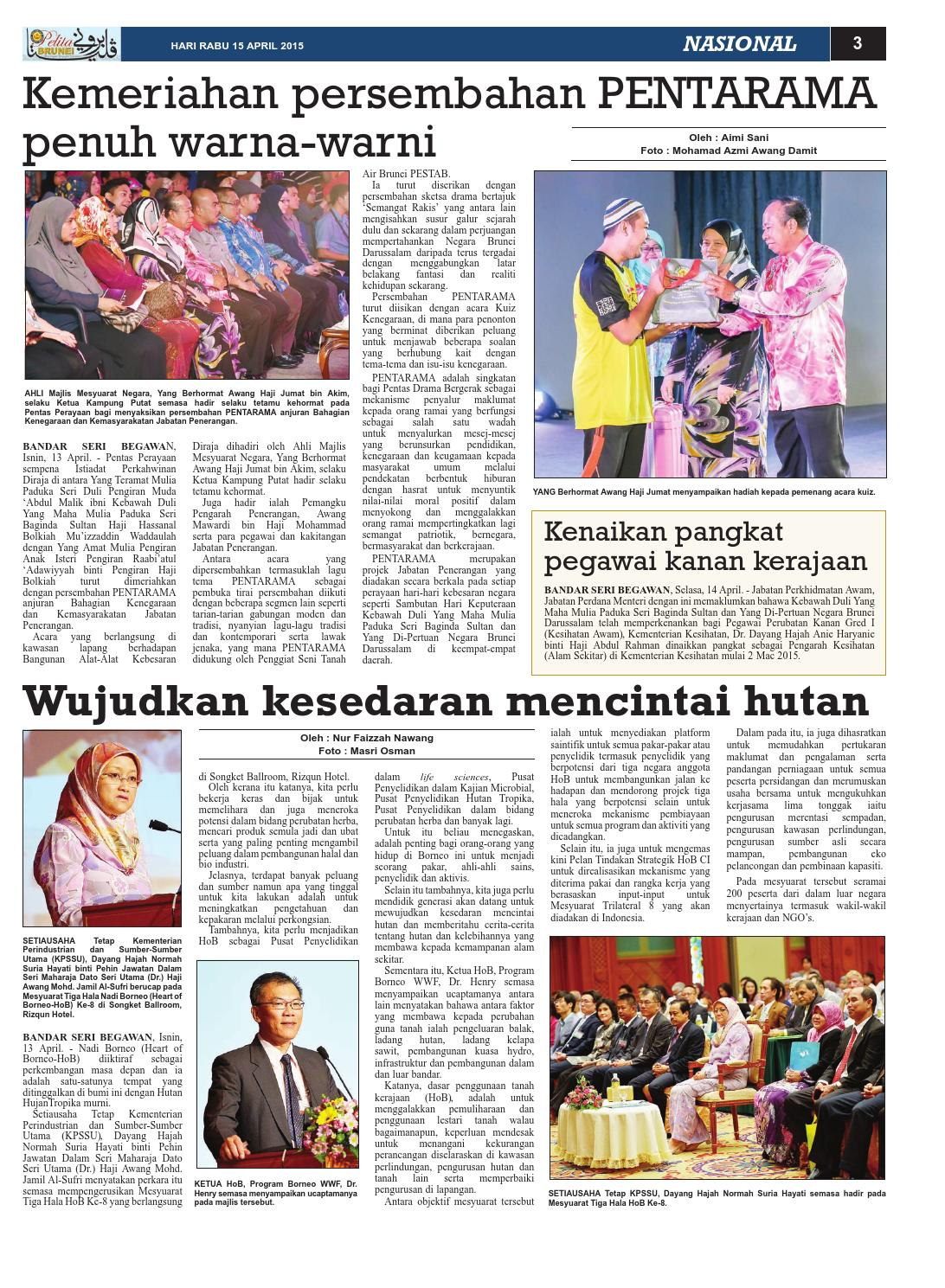 Pelita Brunei Rabu 15 April 2015 By Putera Katak Brunei Issuu