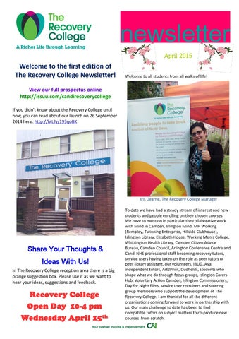 recovery college newsletter 1 april 2015 by candi recovery college