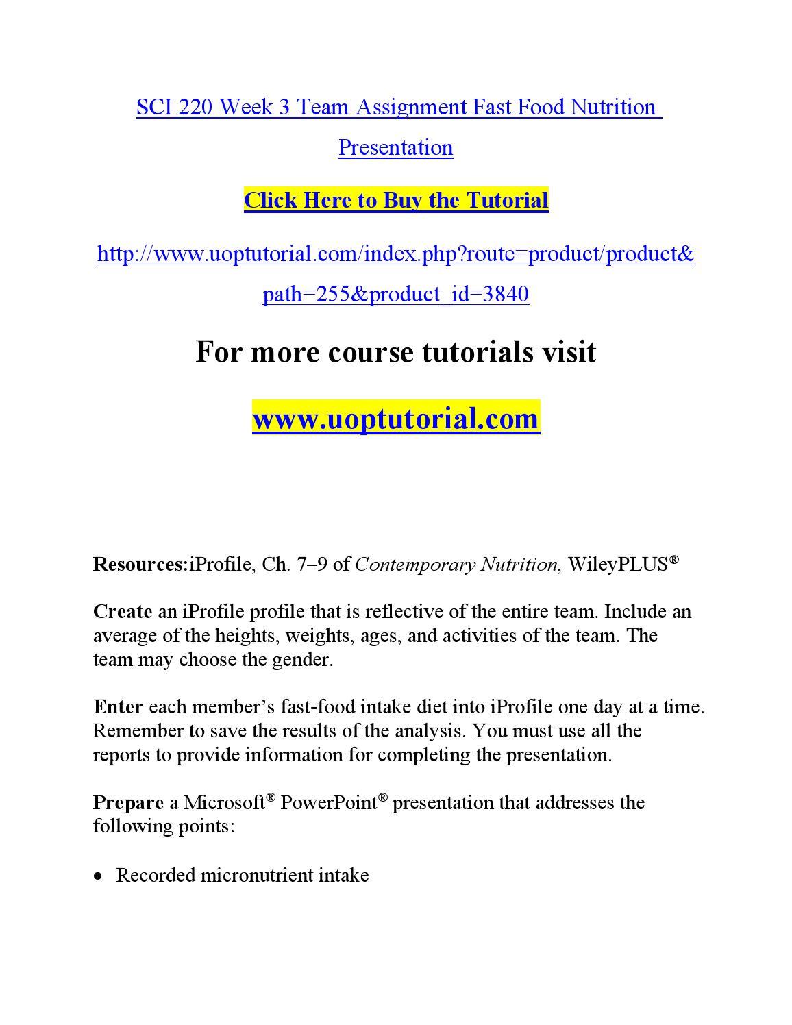 nutrition diet analysis assignment