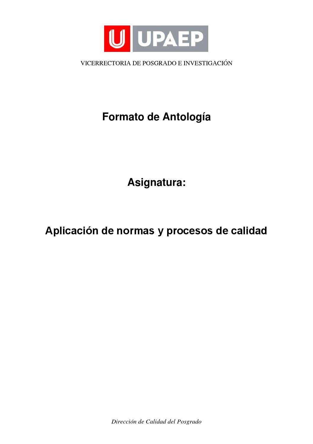 Antologia aplicacion de normas y procesos de calidad sin actividades ...