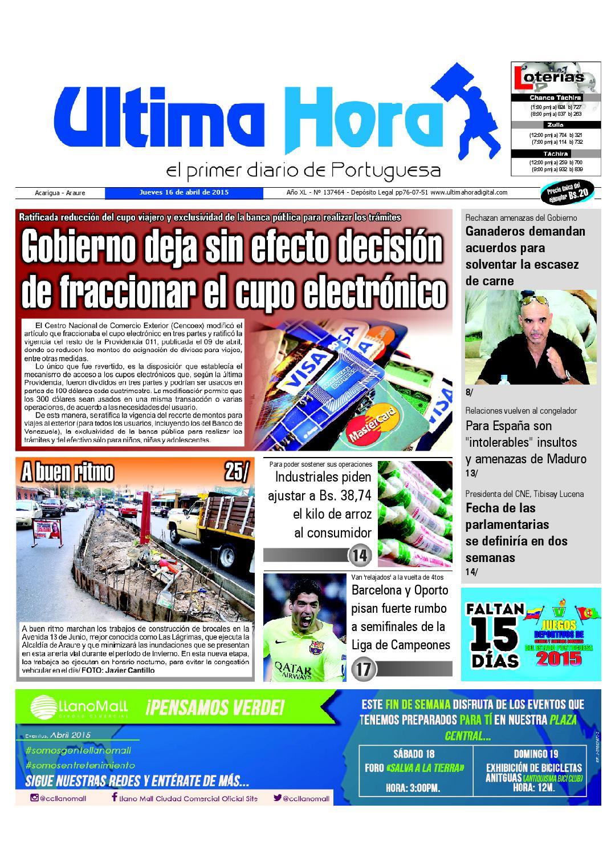 Edicion16 04 2015 by Ultima Hora - El primer diario de Portuguesa ...