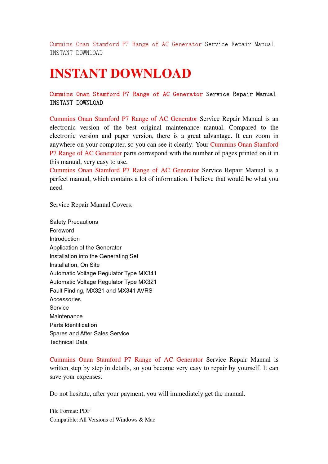 Cummins onan stamford p7 range of ac generator service repair manual  instant download