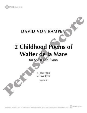 Page 1 David Von Kampen 2 Childhood Poems Of Walter De La Mare