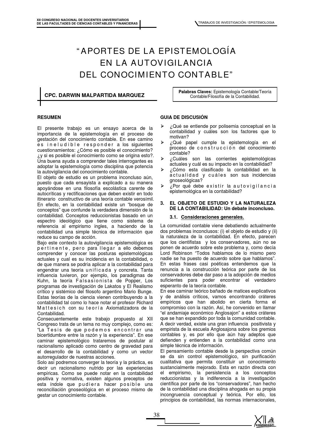 Epistemologia conocimiento contable by CompuOcaña Ltda. - issuu
