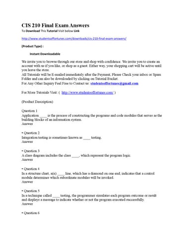 Cis 210 final exam answers by online homework help issuu cis 210 final exam answers to download this tutorial visit below link httpstudentsoffortunesdownloadscis 210 final exam answers product type ccuart Gallery