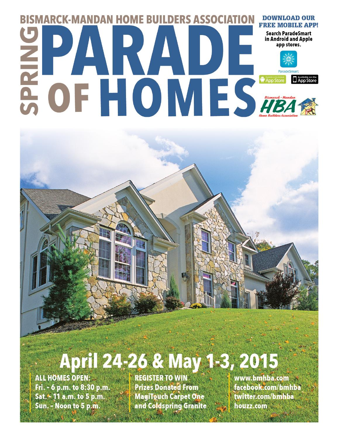 2015 spring parade of homes magazine by bismarck mandan for Home builders magazine