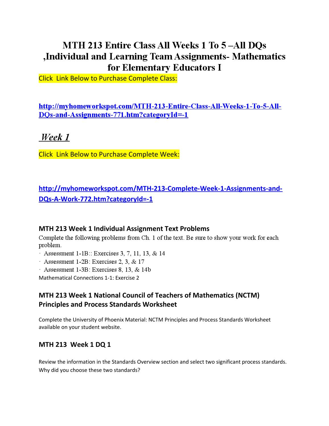 Mth 213 complete class (mathematics for elementary educators i ) by ...