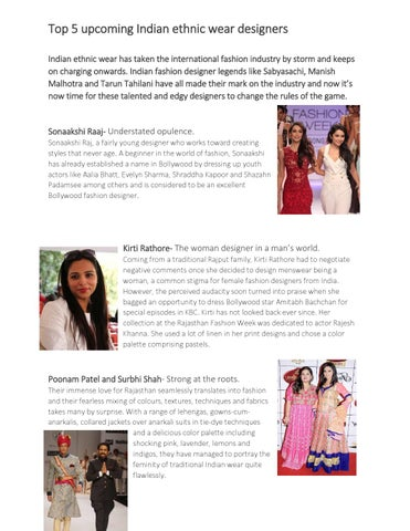Top 5 Upcoming Indian Ethnic Wear Designers By Avnish Gempundit Issuu