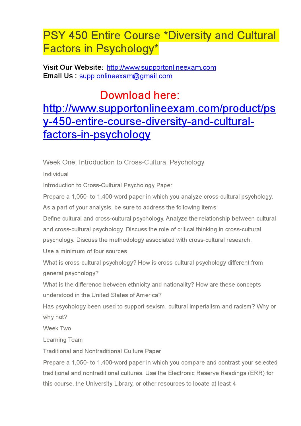 psy 450 entire course diversity and Explore helpstudy's board psy 450 entire course diversity and cultural factors in psychology on pinterest | see more ideas about factors, psicologia and psychology.