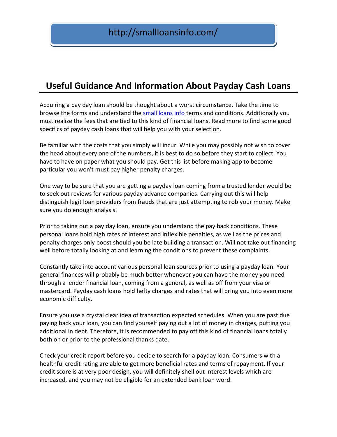 Useful guidance and information about payday cash loans by