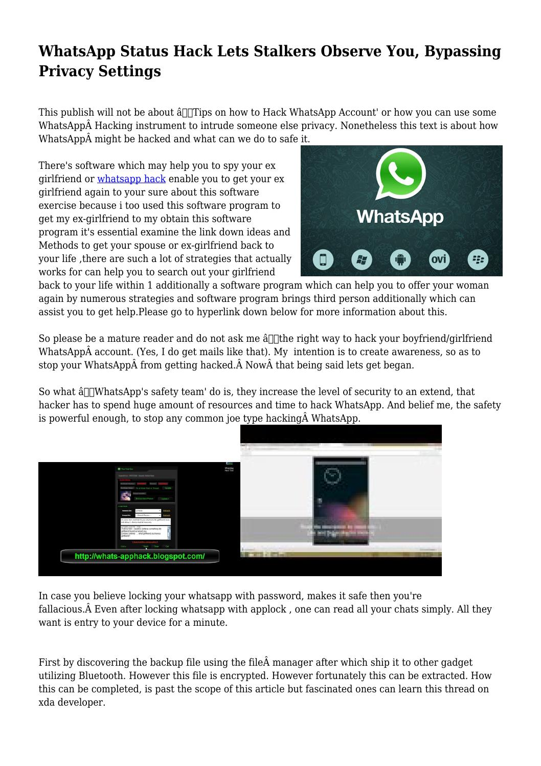 WhatsApp Status Hack Lets Stalkers Observe You, Bypassing
