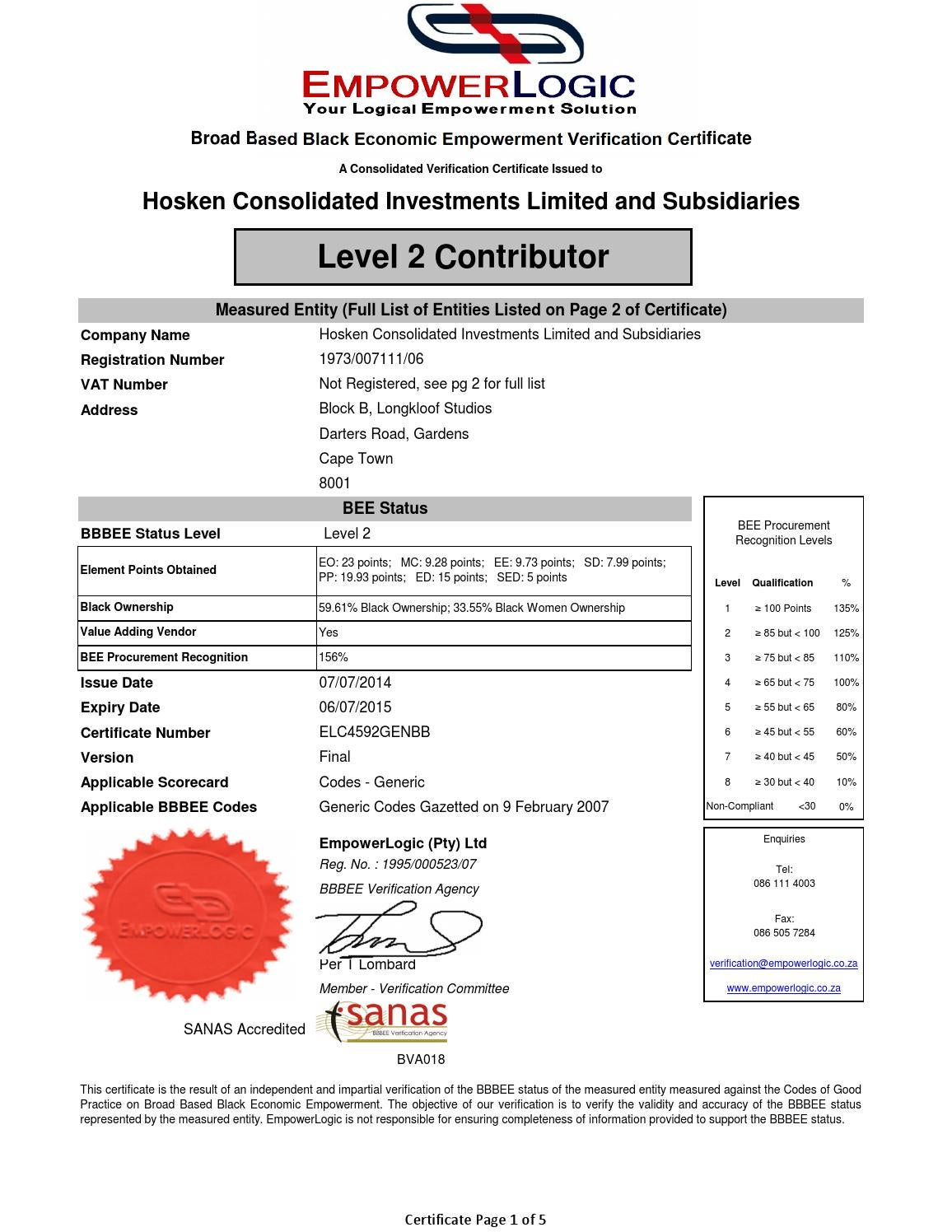 hosken consolidated investments bee certificate
