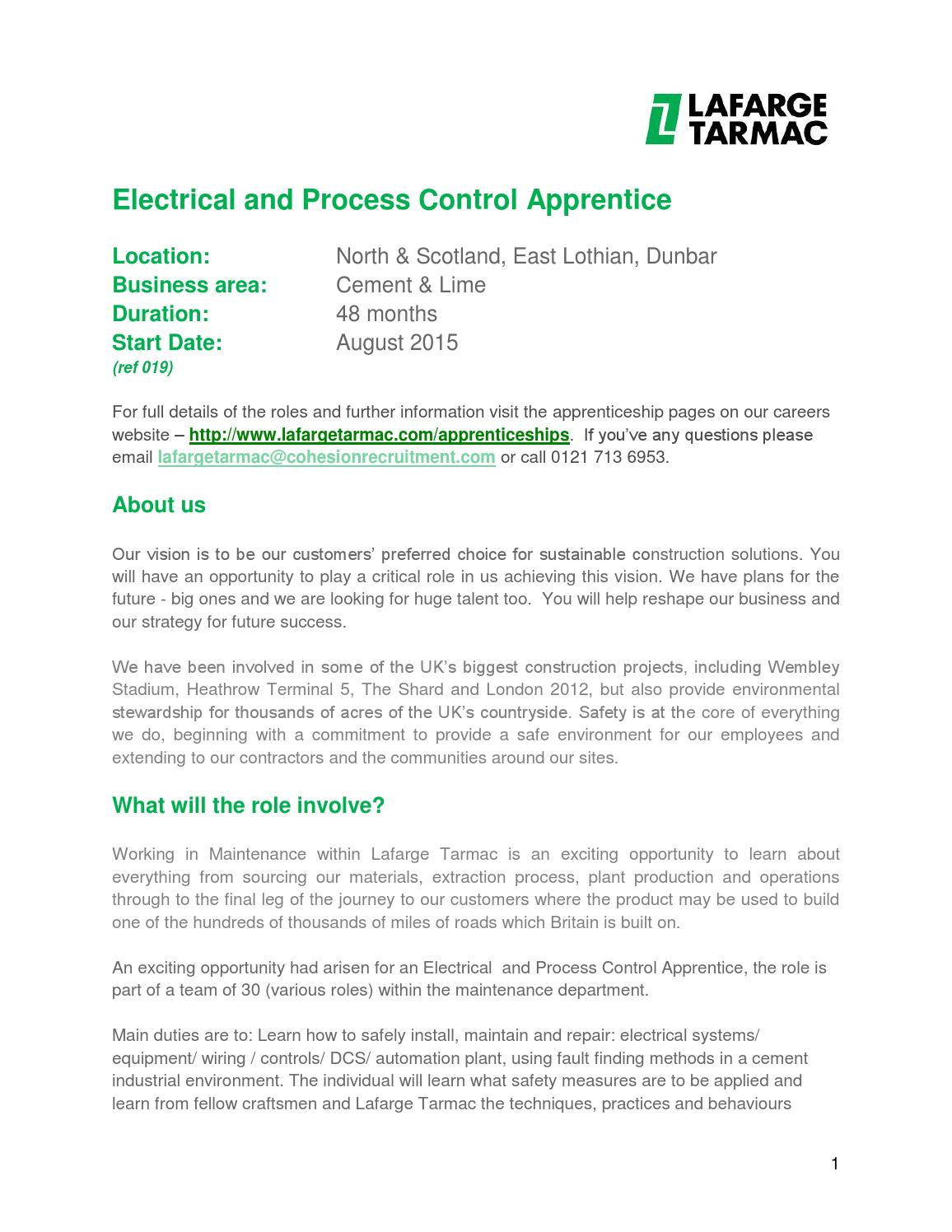 Electrical and process control apprentice advert dunbar by