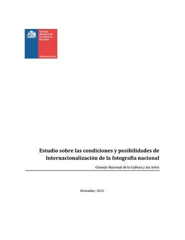 9493acd0637d Estudio sobre las condiciones y posibilidades de Internacionalizaci贸n de la  fotograf铆a nacional Consejo Nacional de la Cultura y las Artes