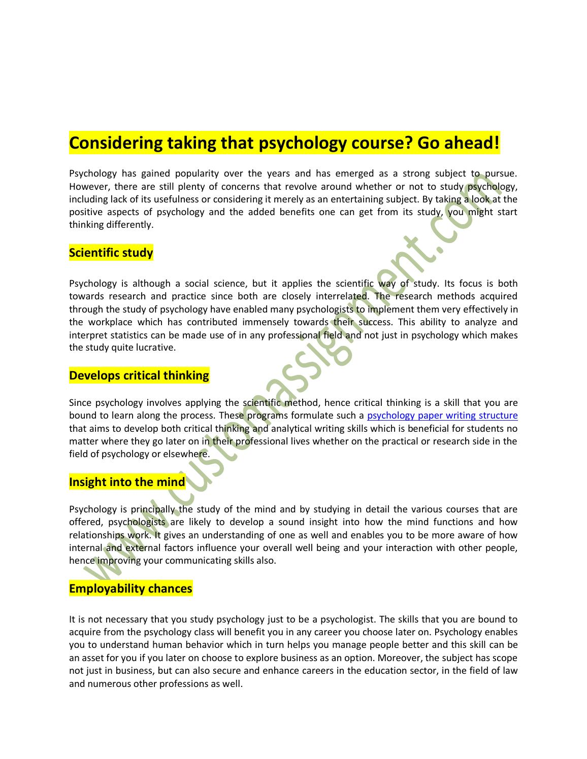 critical thinking essays psychology Psychology essays: critical thinking critical thinking this essay critical thinking and other 63,000+ term papers, college essay examples and free essays are.