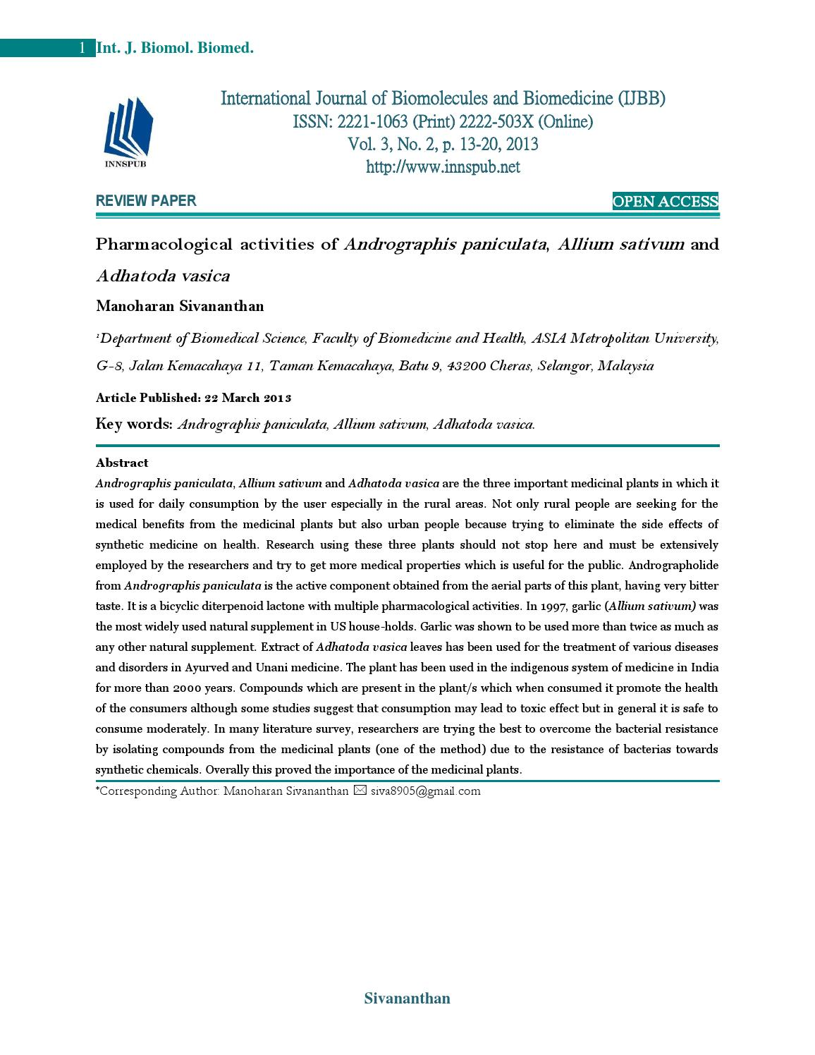 andrographis paniculata research paper Research reveals few adverse reactions reported with the use of a  andrographis paniculata in the symptomatic treatment of uncomplicated upper respiratory.