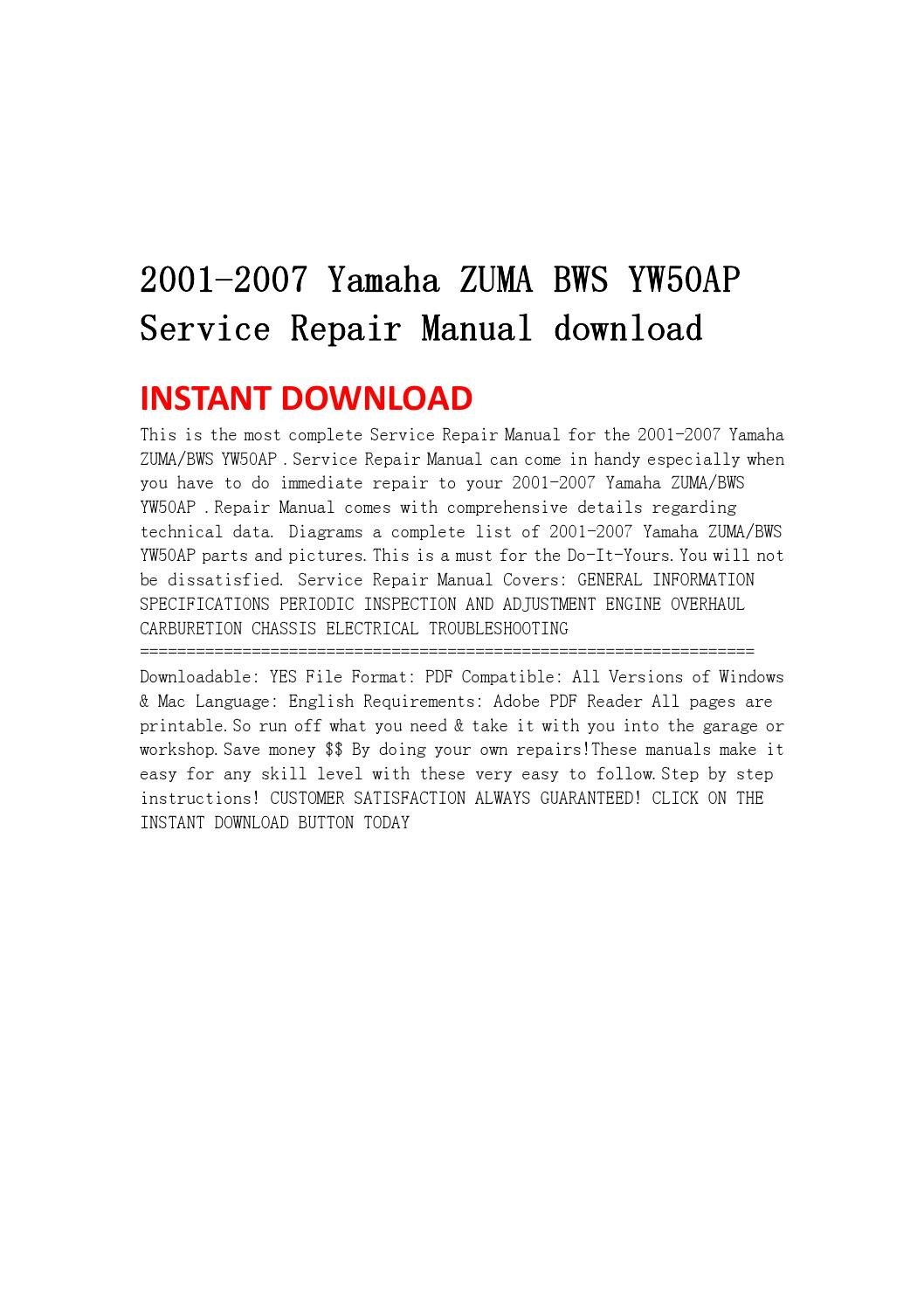 Yamaha Bws Service Manual