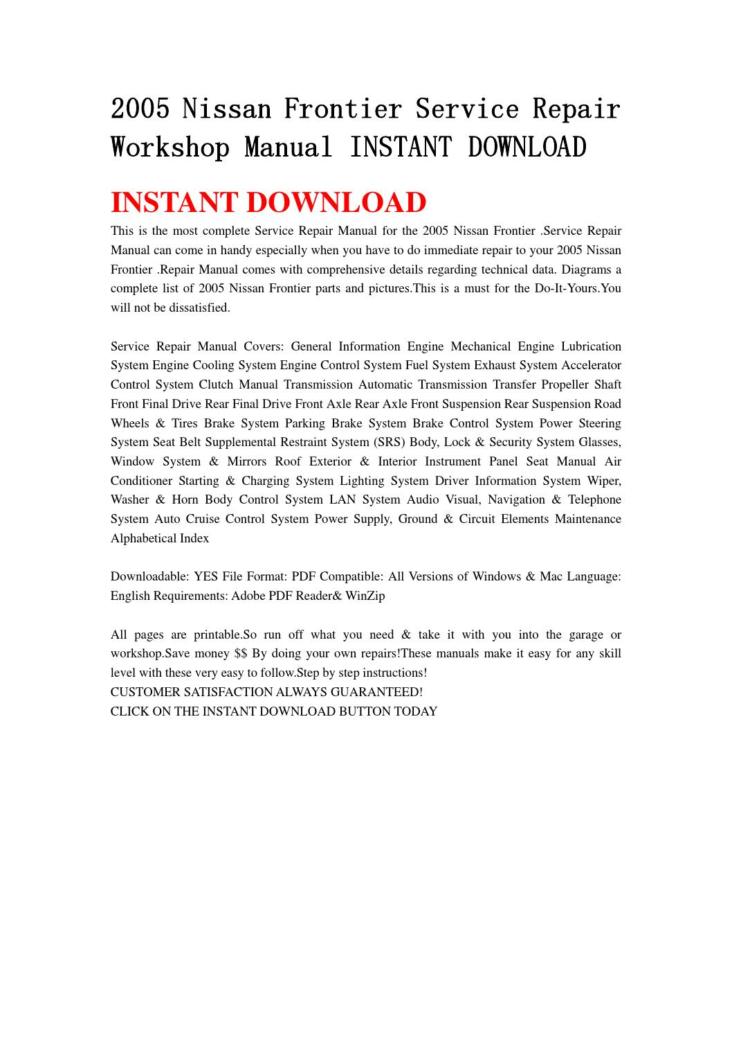 2005 Nissan Frontier Service Repair Workshop Manual Instant Download Cruise Control Diagram By Fjshefnjse Issuu