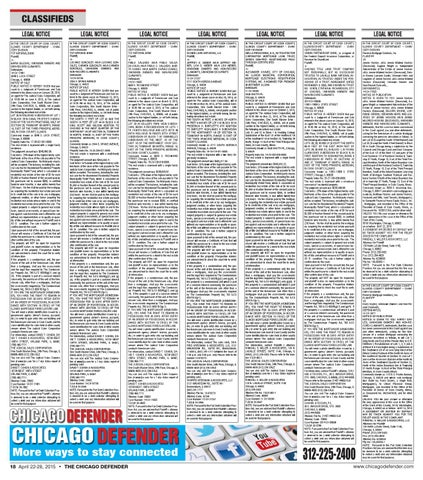Chicago Defender Issue Released April 22 2015 By