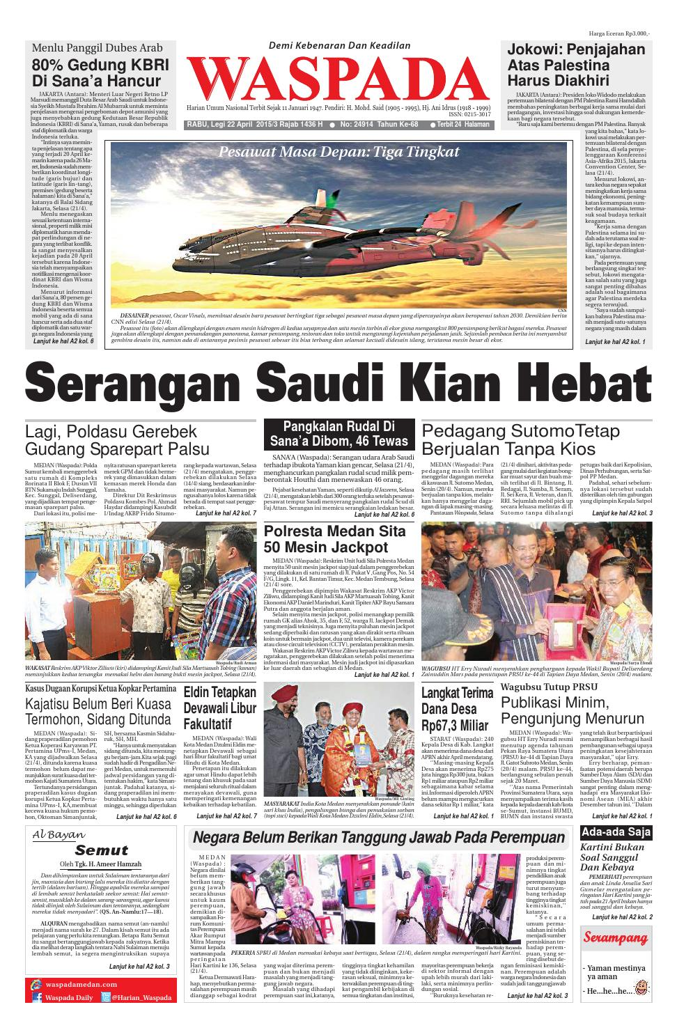 Waspada Rabu 22 April 2015 By Harian Waspada Issuu