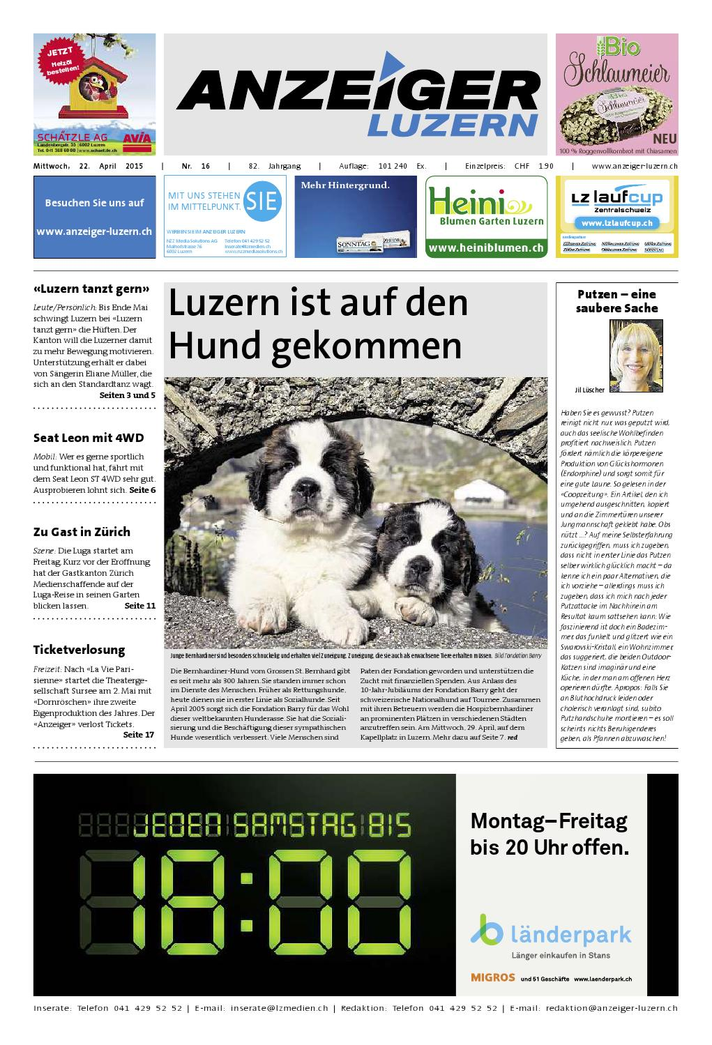 Anzeiger Luzern 16 / 22.04.2015 by Anzeiger-Luzern - issuu