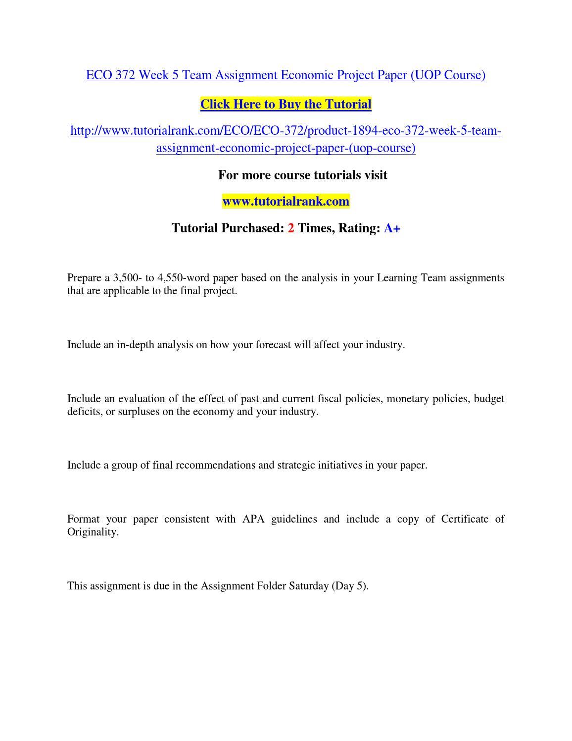 Eco 372 term definition paper