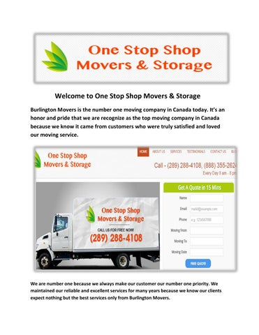 One Stop Shop Movers U0026 Storage : Get A Moving Quote