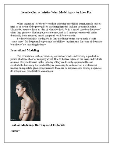 What modeling agencies look for in female models by