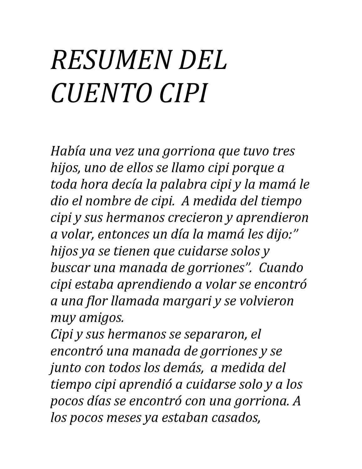 Resumen del cuento cipi by leonardo castro - Issuu