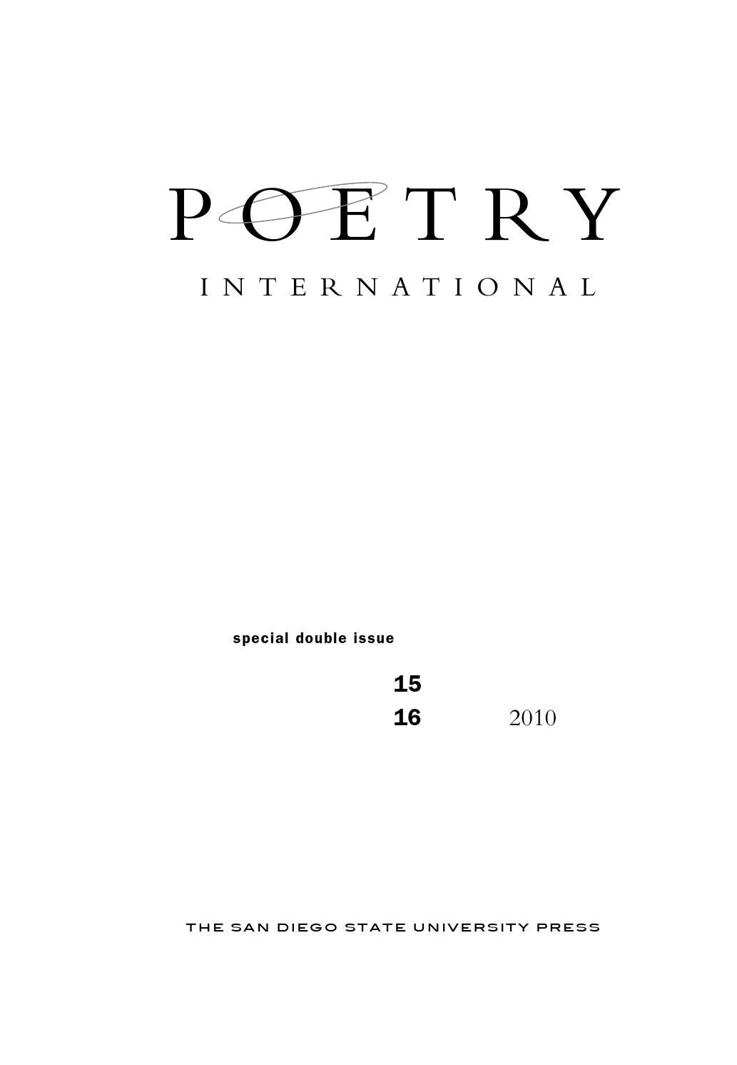 Pi Issue 15 And 16 By Poetry International Issuu