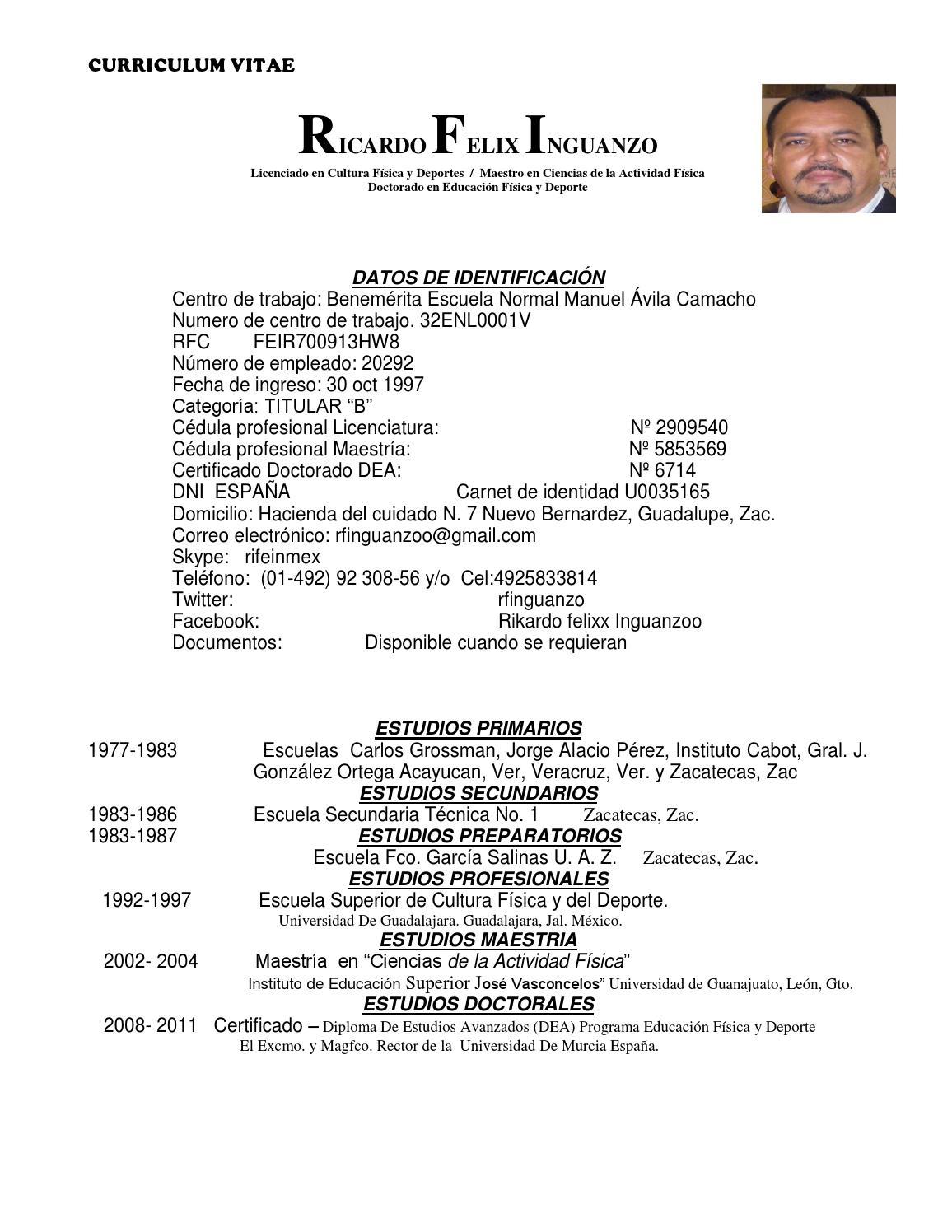 Curriculum vitae Ricardo Felix Inguanzo by Servicios Integrales ...