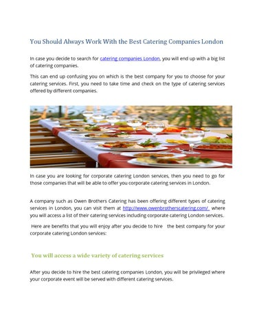 Best Catering Companies London By Catering Guru Issuu - Type-of-corporate-events