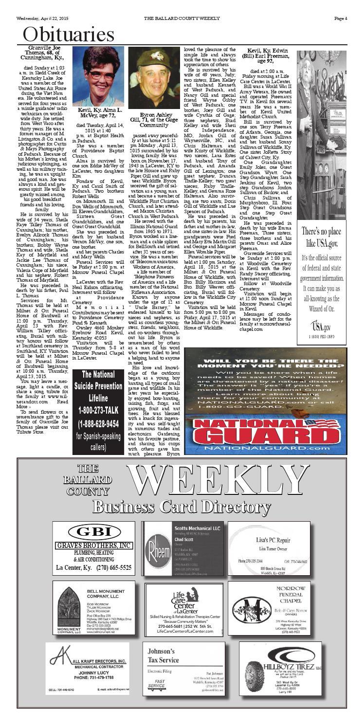 Ballard april 22nd by The Ballard County Weekly - issuu