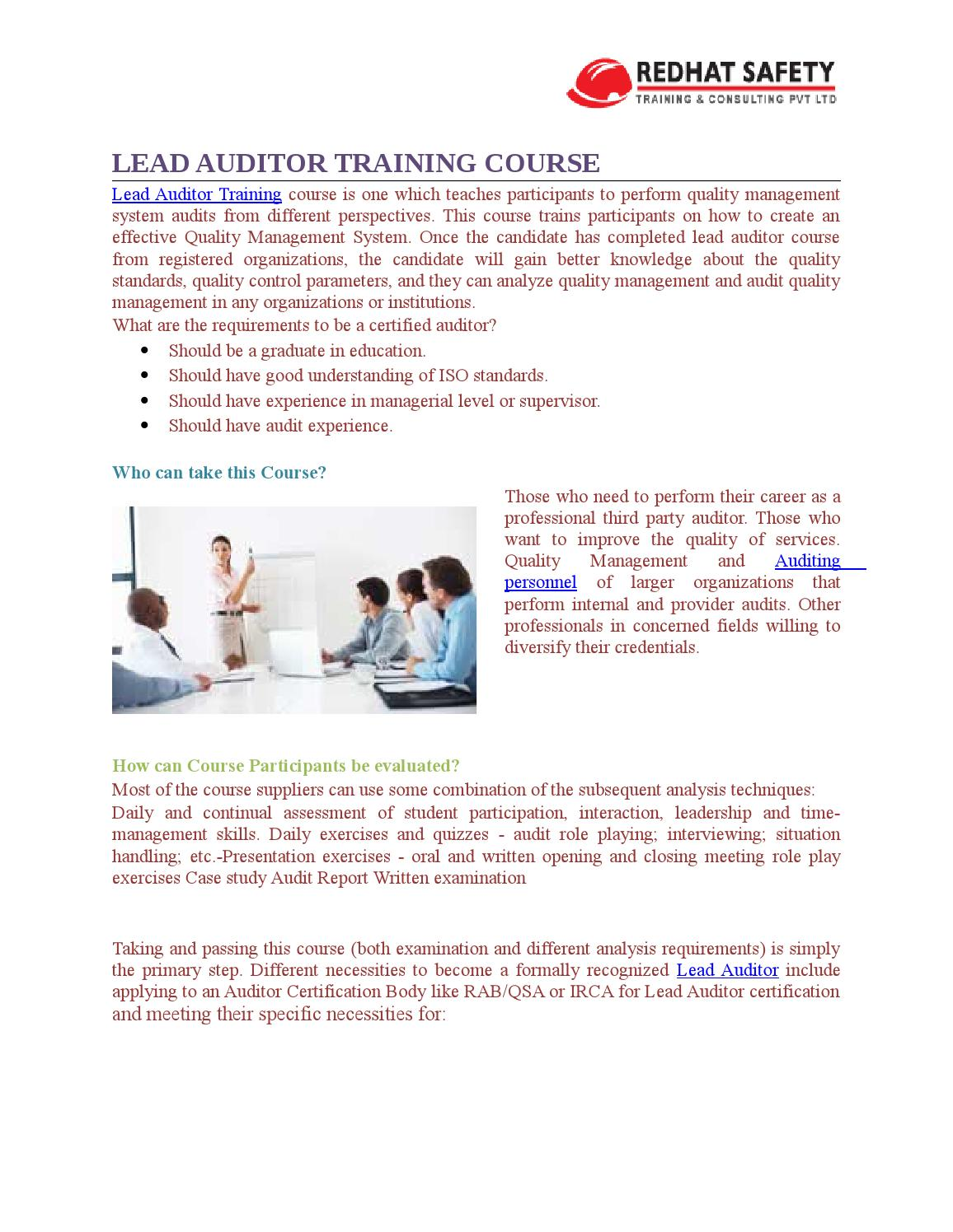 Lead auditor Training Course-What is it? by redhatsafety - issuu