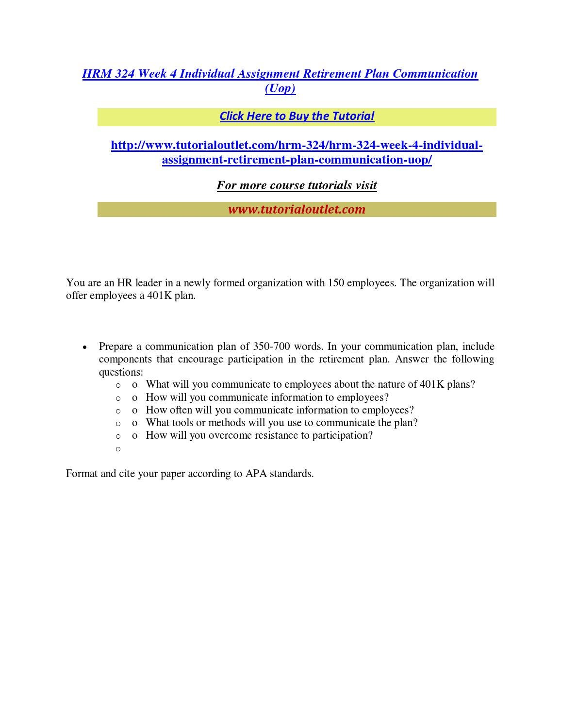 Hrm 324 Week 4 Individual Assignment Retirement Plan Communication Uop By BBCB