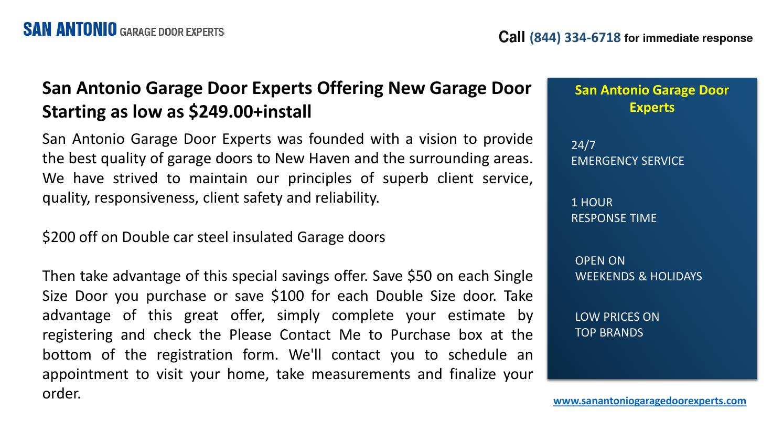 San Antonio Garage Door Experts Offering New Garage Door Starting As