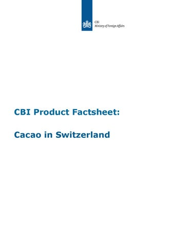 Cocoa sector cacao in switzerland by Caribbean Export - issuu
