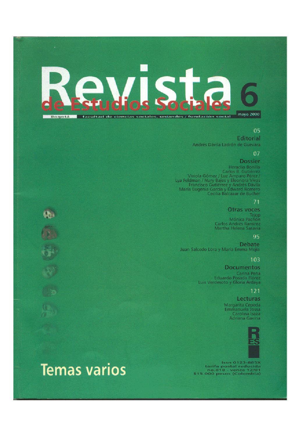 size 40 860c8 c8372 Revista de Estudios Sociales No. 6 by Publicaciones Faciso -