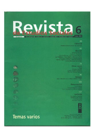 Revista De Estudios Sociales No 6 By Publicaciones Faciso Issuu